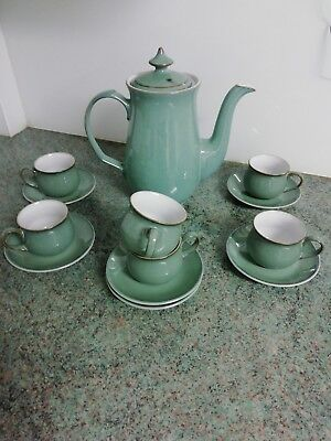 Denby Regency Green Coffee Pot with 6 cups and saucers