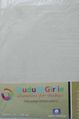 Dudu N Girlie Cotton Jersey Cot Bed Fitted Sheets, 2-Piece, Cream