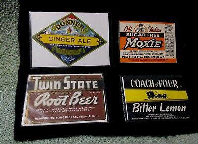 Lot of 4 Soda Labels NOS Twin State Donner Coach And Four Moxie