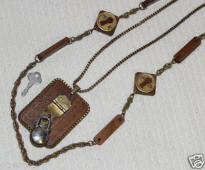 Vtg Miriam Haskell Padlock Lock Key Hole 2Pc Necklace Steampunk Wood Filigree