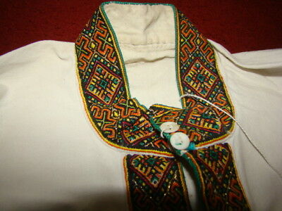 Vintage Ukrainian embroidered linen men's shirt Ivano-Frankivsk region #283