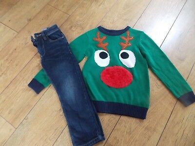 Boys Next Christmas Jumper Next Slim Jeans Age 6-7 Years