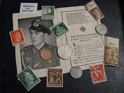 """RARE Militaria Lot of Nazi coins + stamps + Deathcard WWII  """"VERY NICE"""" (003)"""