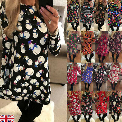 UK Stock Womens Christmas Jumper Mini Dress Santa Snowman Long Sleeves Ladies