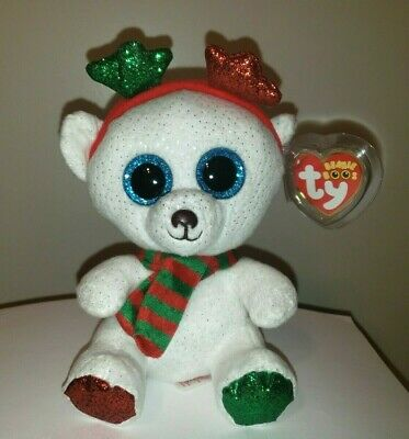 "Ty Beanie Boos - FROST the Christmas Polar Bear 6"" (2018 Exclusive) NEW MWMT"