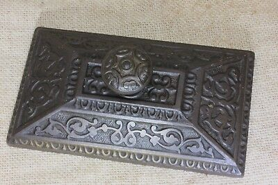 Paper Weight old antique dark cast iron 1880's store desk top vintage decorated