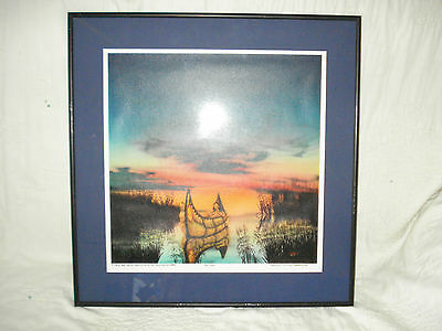 1997 Ikoshy Montoya  Print Framed  Otter Boy And The Wild Rice  Signed Ltd #34