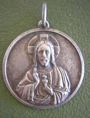 EARLY 1900's SACRED HEART OF JESUS NICE EMBOSSED MEMENTO ALPACCA SILVER MEDAL