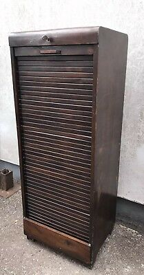 Vintage Tambour Roll Front Filing Cabinet Shop Display Industrial