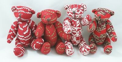 CHRISTMAS Teddy Bears, Set of 4 Red White & Green Jointed, Knit Teddy GIFTS, NWT