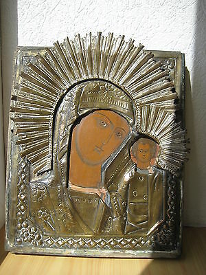 Icona Russa,Antique Russian Orthodox icon,,Virgin of Kazan,,from 19c.