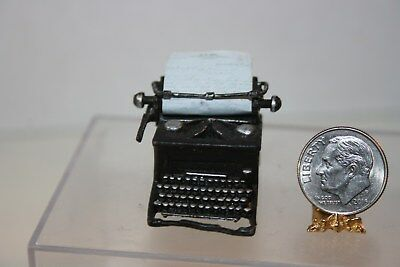 Miniature Dollhouse Antique Metal Typewriter w Paper Carriage MOVES 1:12 NR