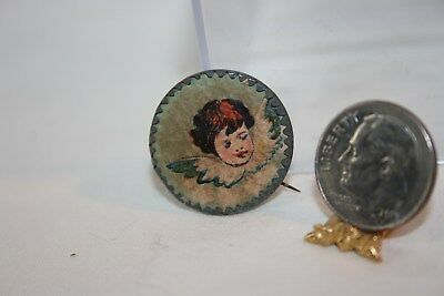 Miniature Dollhouse Antique Pinback Cherub/Angel Head Wall Decor 1:12 NR