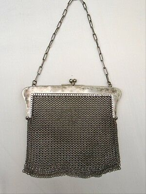 Antique Vintage Mesh Chain Mail Silver Plated Handbag Purse Heavy!