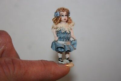Miniature Dollhouse Jan Hughes Porcelain Replica Jumeau Childs Toy Doll w Box NR