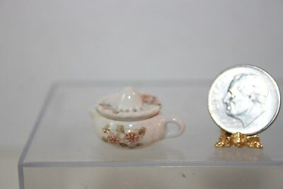 Miniature Dollhouse Fine Porcelain 2 Pc Juicer w Apple Blossoms Artisan 1:12 NR