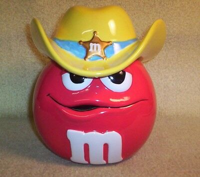 M&m Candies Ceramic Cookie Jar / Candy Dish Yellow Sheriff Hat With Gold Star