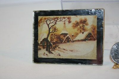 Miniature Dollhouse OLD Wintry Scene w Church in Snow Framed in Mirror 1:12 NR