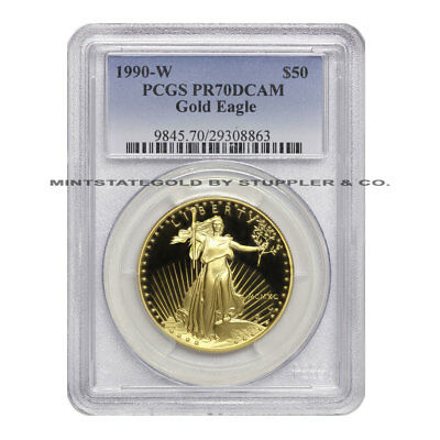 1990-W $50 Eagle PCGS PR70DCAM American Gold Deep Cameo Proof coin 1oz 22KT