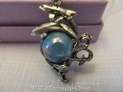 Pewter Dual Dolphins on a Multi-Color Orb Pendant on Black Rope *NEW w Gift Box*