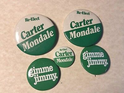 (5) Lot 1970's jimmy carter campaign buttons Gimme Re-elect Mondale Nice