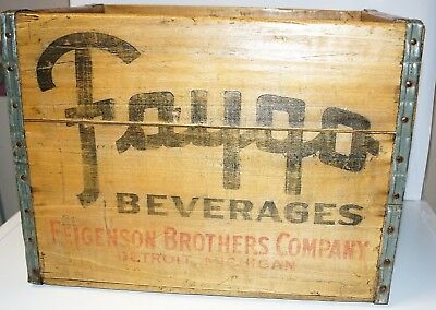 Vintage 1954 FEIGENSON BROTHERS Faygo Wood Soda Pop Crate Detroit Mi