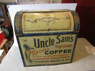 Uncle Sam's Roasted Coffee Huge Country Store Bulk Tin Painted Bin **wow!