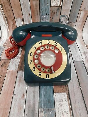 Vintage Rotary Dial Desk TELEPHONE Home Phone Blue Red & Cream  - B93