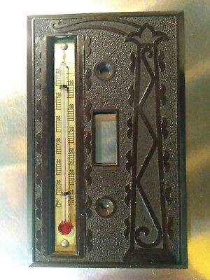 Vintage ASTRA Embossed Brown Bakelite Thermometer Light Switch Cover Plate