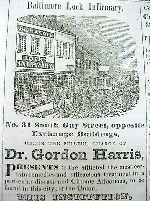 1850 MD newspaper w QUACK MEDICINE AD illustration of SOUTH GAY STREET Baltimore
