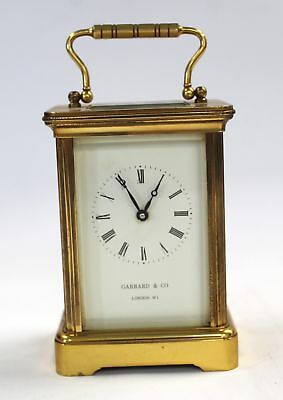 Vintage GARRARD & CO LONDON Brass & Glass CARRIAGE/MANTEL CLOCK - Untested - N28