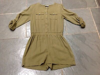 Girl's Next Play Suit, Khaki Green, Long Sleeved, Age 10 Years, Exc Con