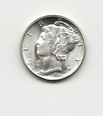 1944-P Mercury Dime, BU, in old Bowers and Ruddy flip