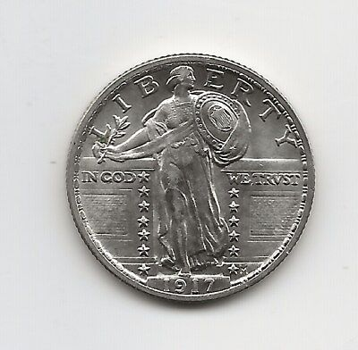 1917 Standing Liberty Quarter Type 2, BU, in old Bowers and Ruddy flip