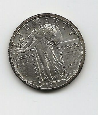1917-D Standing Liberty Quarter Type 2, AU, in old Bowers and Ruddy flip