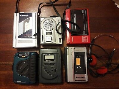 Lot of 6 Walkman Cassette Players AM/FM Untested 1 set of headphones