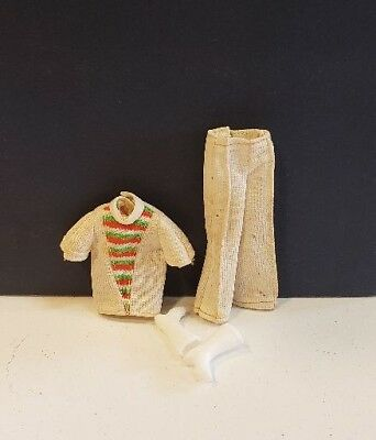 Vintage White Knit 2 Piece Pant Suit From Unknown Maker Lot 11-13-2