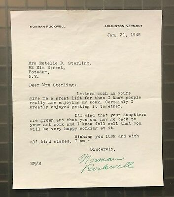 Norman Rockwell Signed 1948 Typed Letter Autographed AUTO JSA LOA RARE