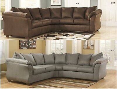 CAFE BROWN COBBLESTONE Gray Sectional Sofa Ashley Darcy ...