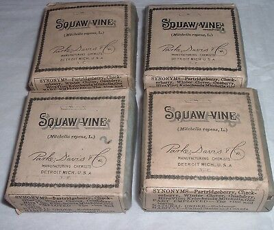 4 Antique Sealed pack Squaw Vine Parke Davis Pharmaceutical Apothecary Medicine