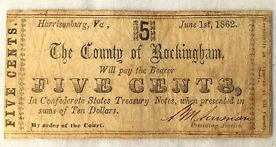 County of Rockingham Five Cents Note 1862