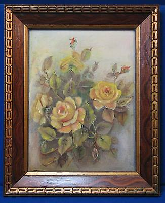 Vintage Yellow Rose Painting Wooden Frame Gold Bud Old Original Art Bush Texas
