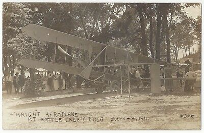 1911 Wright Bros Airplane at Battle Creek, Michigan - REAL PHOTO Vintage PC