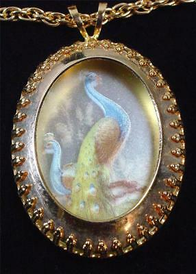 Beautiful Vintage Hand Painted Peacock Shadowbox Pendant Necklace