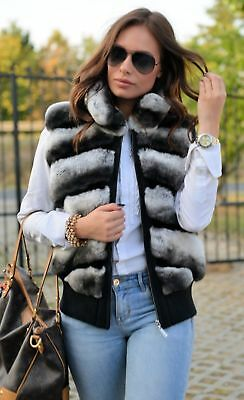 New 2019 Chinchilla Rex Fur Vest Class Of Sable Fox Vest Coat Jacket Mink Bomber