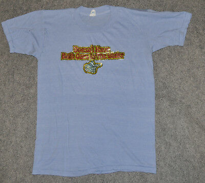 vintage DOESN'T HAVE BOTH OARS IN WATER 1978 GLITTER IRON-ON 70s sz L t-shirt
