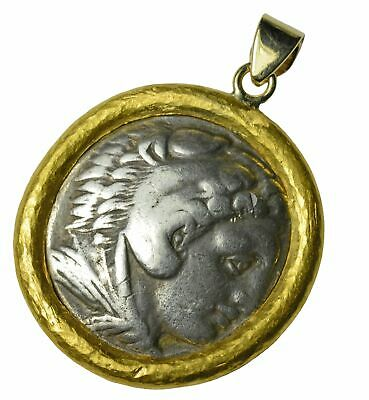 Ancient Roman Silver Tetradrachm Set in Custom 22k Yellow Gold Bezel Pendant