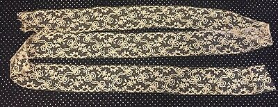 "Prettiest Antique Victorian Handmade 3"" Wide French Ribbon Net Lace Trim"
