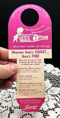 """Vintage 1959 Paper Bottle Hanger - WHEREVER THERE'S SQUIRT... THERE'S FUN! - 8"""""""
