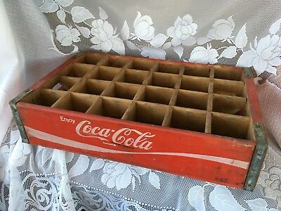 Vintage Red Coca-Cola Crate ~ Wood & Metal 24 Bottle Coke Carrier 18 x 12 x 4
